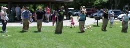 Parish picnic sack race, June 2016
